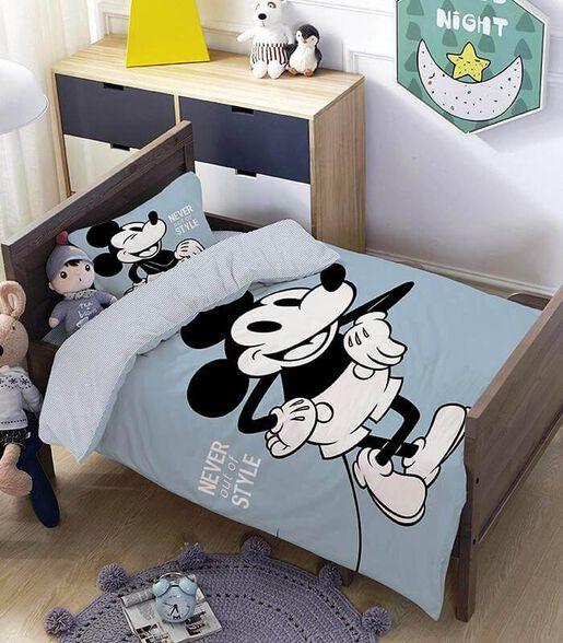 מצעים למיטת תינוק ומעבר 100% כותנה דגם מיקי סטייל, , large image number null