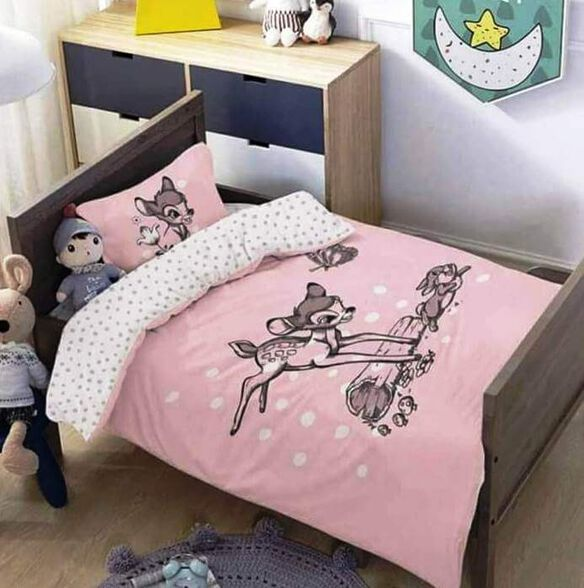 מצעים למיטת תינוק ומעבר 100% כותנה דגם במבי ג'אמפ, , large image number null