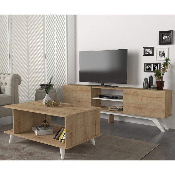 סט שולחן + מזנון טלוויזיה 1.8 מטר אלון דגם קנזס מבית GEVA DESIGN, , large image number null