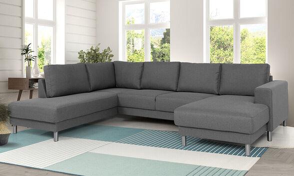 שמרת הזורע: מערכת ישיבה גדולה דגם דבש גוון אפור בעל 4 מושבים, צד שזלונג לבחירה ומושבי כריות איכות לנוחות מירבית, , large image number null
