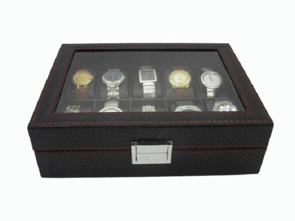 קופסא מהודרת במיוחד דמוי קארבון לאחסון 10 שעוני יד ותכשיטים   אפשרות לשדרוג קופסא לאחסון 12 שעונים_אחסון 10 שעונים, , large image number null