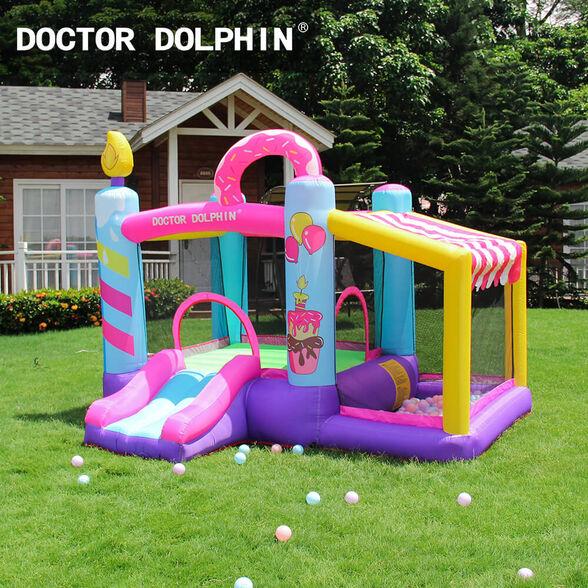 מתקן מתנפח לילדים לחצר | צבעים ורוד סגול צהוב, , large image number null