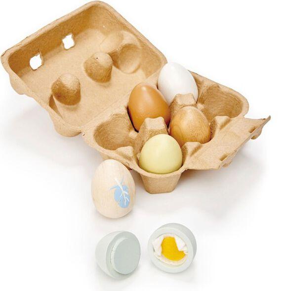 קרטון ביצים + שש ביצים מעץ מלא, , large image number null