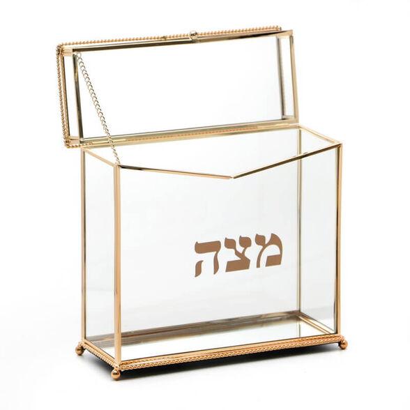 קופסת אחסון למצות עומדת מזכוכית עם מסגרת מוזהבת מבית Novell Collection, , large image number null