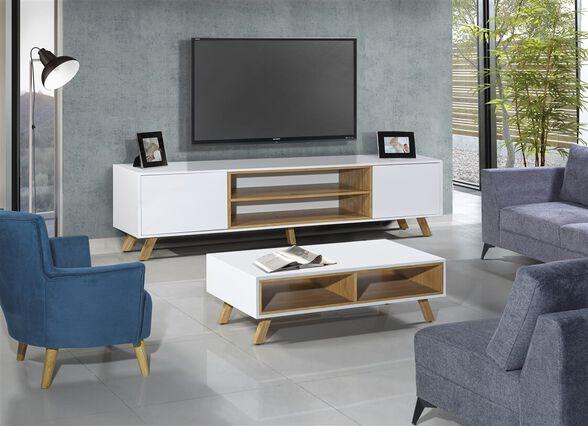 סט מזנון ושולחן מרהיב המשלבים צבע לבן ועץ מעניקים לסלון מראה חזק ומעוצב - LEONARDO, , large image number null