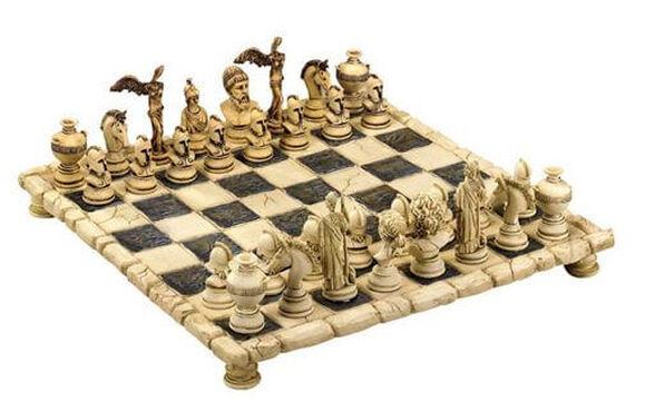 סט שחמט מהודר מיתולוגיה יוונית עשוי 100% פולרזין, גימור אבן עתיק היוונים מול יהודים בעיצובים מרהיבים. בחירת גדלים, , large image number null