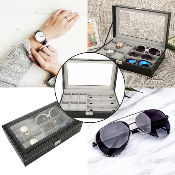 קופסאת אחסון ל-3 זוגות משקפי שמש ו-6 שעונים, , large image number null