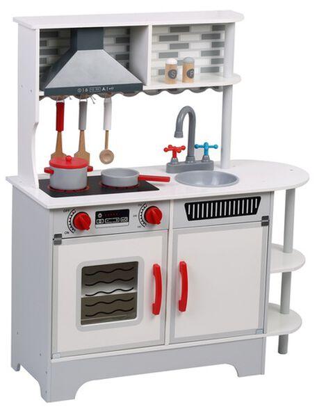 השף הקטן - מטבח עץ לילדים עם 8 אביזרי משחק - אפור, , large image number null