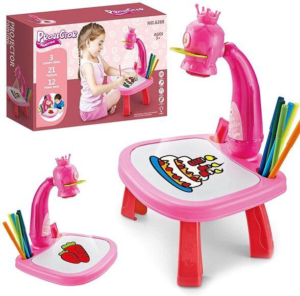 שולחן ציור לילדים עם מקרן חכם | 2 צבעים לבחירה | כולל 3 שקופיות , חבילת טושים, דפי ציור_ורוד, , large image number null
