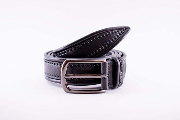 חגורת עור איכותית תוצרת איטליה בצבע שחור | בדוגמאת תפר מסגרת שחור, , large image number null
