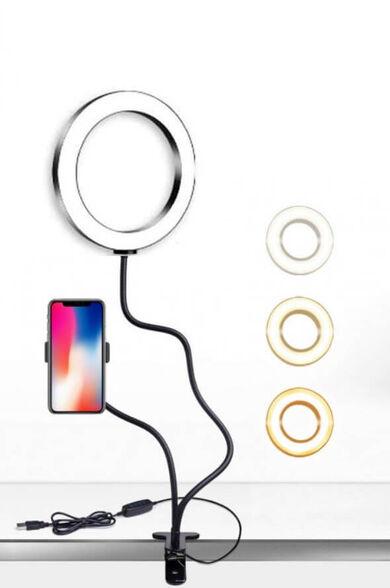 """תאורת לד RING LIGHT בצורת טבעת בקוטר 16 ס""""מ לצילום ישיר מהסמארטפון + תופסן אוניברסאלי ושלט לשליטה על אופציות הצילום עוצמת התאורה והגוונים, , large image number null"""