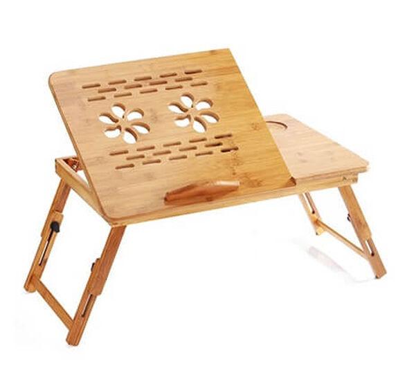 שולחן עץ במבוק מתכוונן ומתקפל למחשב נייד - ניתן לשנות גובה רגליים , , large image number null