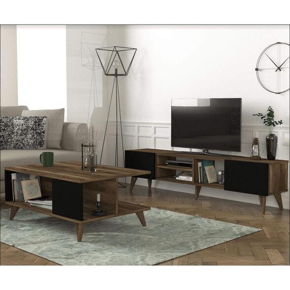 סט סלוני מושלם: מזנון ושולחן בעיצוב אופנתי משולב אגוז ושחור דגם ADONIS מבית GEVA DESIGN, , large image number null