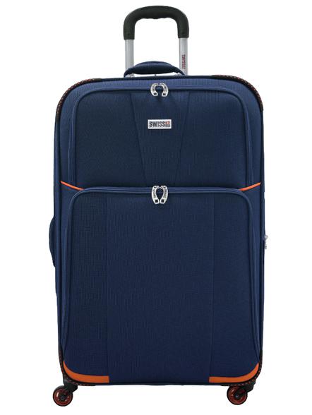 מזוודה בד 20 אניץ צבע כחול כתום , , large image number null