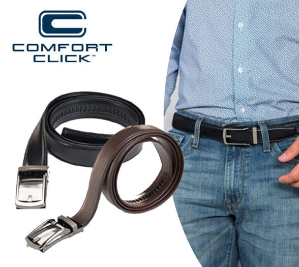 COMFORT CLICK קומפורט קליק – חגורה לגבר המתאימה עצמה בדיוק למידה שלכם בקליק אחד, ללא חורים. אבזם מתכת מוברש. חום / שחור, , large image number null