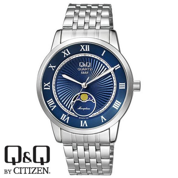 שעון יד לגבר עם תצוגת ירח מבית Q&Q עשוי פלדת אל חלד ועמיד במים עד 50 מטר- אחריות לשנה, , large image number null