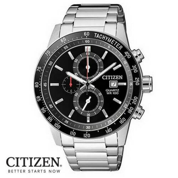 שעון כרונוגרף לגבר מבית CITIZEN עשוי פלדת אל חלד ועמיד במים עד 100M עם מחוגים זוהרים, , large image number null