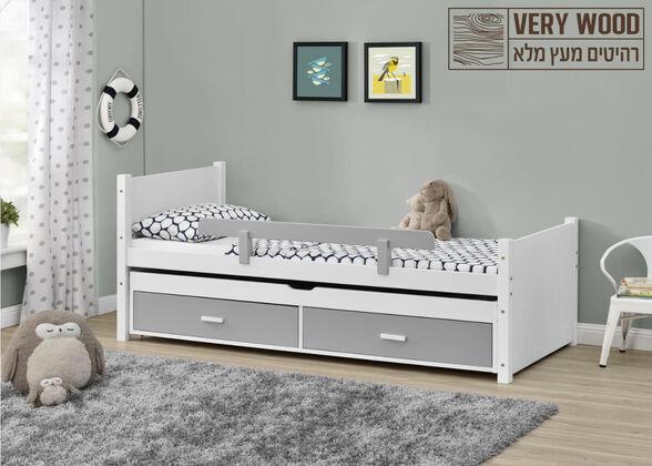 מיטת ילדים מעץ מלא עם מיטת חבר נשלפת מסדרת VERY WOOD של  HOME DECOR דגם ליאור , , large image number null