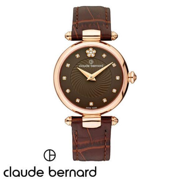 שעון יד שוויצרי מבית CLAUDE BERNARD עשוי פלדת אל חלד בציפוי PVD וזכוכית ספיר משובץ אבני סברובסקי, , large image number null