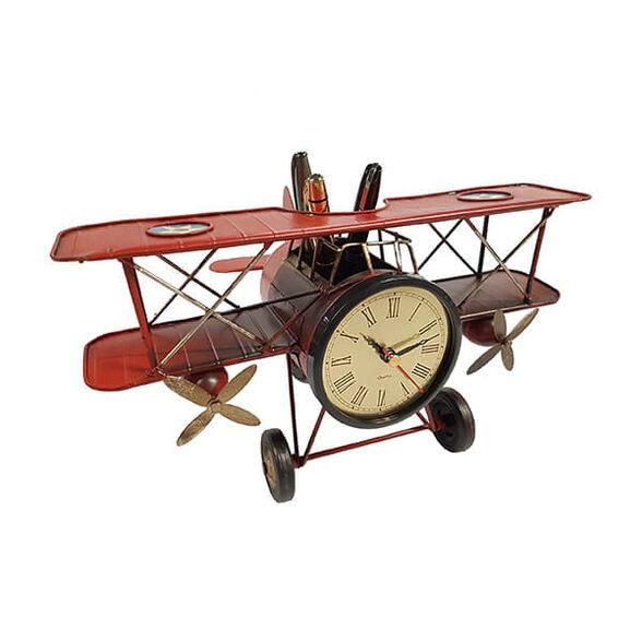 שעון שולחני | מעמד לעטים בעיצוב רטרו אווירון עתיק_אדום, , large image number null