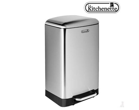 פח דוושה למטבח טריקה שקטה בנפח 30 ליטר בגימור נירוסטה, , large image number null
