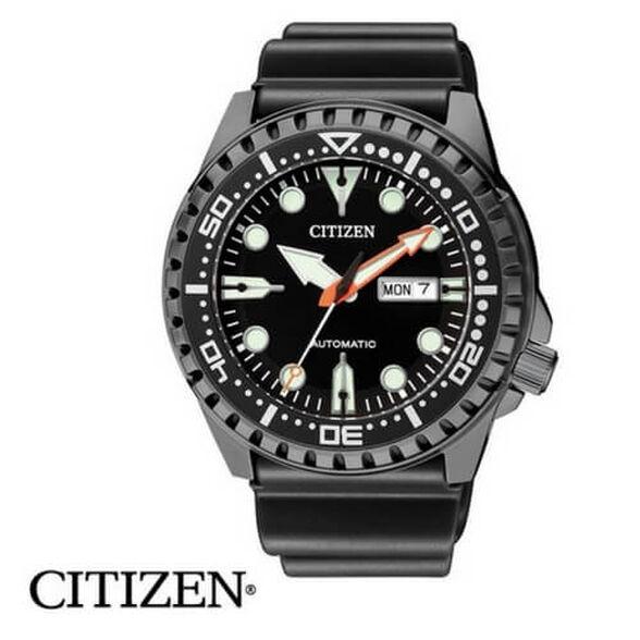 שעון צלילה אוטומטי לגבר מבית CITIZEN עשוי פלדת אל חלד מושחרת עמיד במים עד 100M, שנתות ומחוגים זוהרים, , large image number null