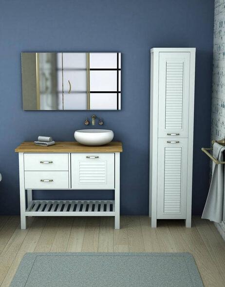 סט ארון אמבטיה אפוקסי עומד דלתות ומגירות עם משטח בוצ'ר וטס מגבות- דגם הראל \ מגוון מידות וצבעים לבחירה, , large image number null