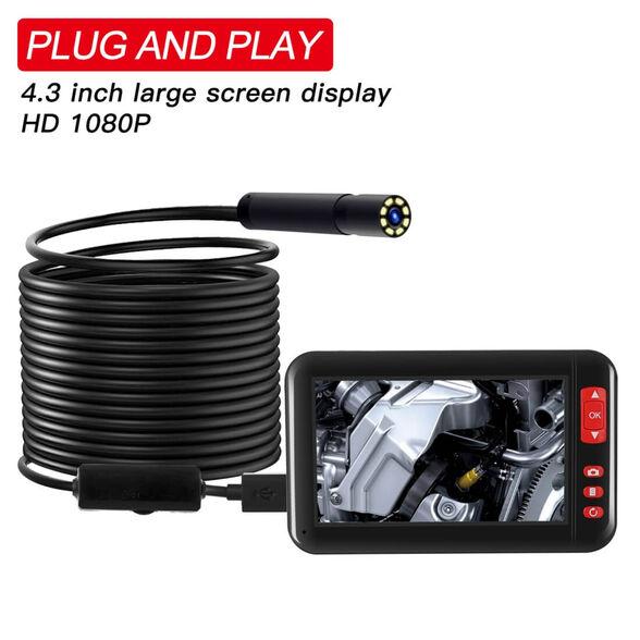 """אנדוסקופ עצמאי Full HD 1080P באורך 10 מטר עם מסך עצמאי נטען ועדשה בקוטר 8 מ""""מ, , large image number null"""