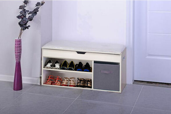 שידת התארגנות וישיבה רונית מבית HOMAX בעלת שני מדפים לנעליים ושני תאי אחסון רב תכליתיים., , large image number null