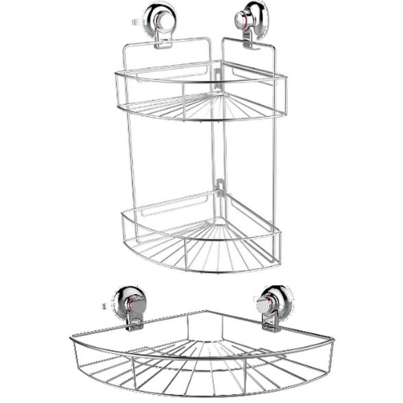 סט 2 מדפים פינתיים לאמבטיה | סלי רשת למקלחת - תלייה בוואקום ללא קידוח, , large image number null