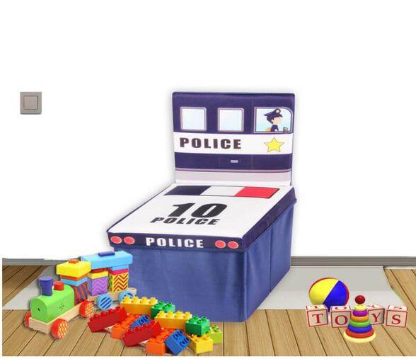 קופסאות אחסון דקורטיביות ומיוחדות עיצוב מיוחד בצורת כסא, כולל משענת גב ובסיס ישיבה מרופד | מגוון דגמים לבחירה_כחול משטרה, , large image number null