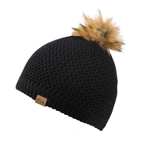 כובע צמר מרינו נשים BARROW עם הגנת פליס פנימית מבית GO NATURE_צבע שחור, , large image number null