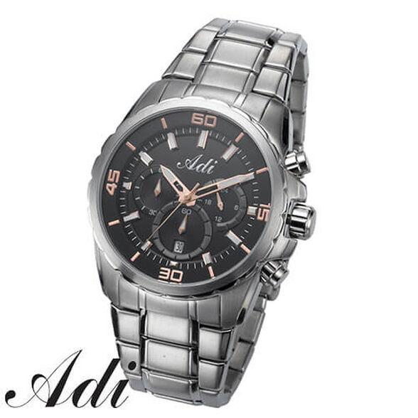 שעון יוקרתי לגבר ADI בעיצוב מתכתי העשוי מפלדת אל חלד, עמיד במים עד 100M ובעל מנגנון כרונוגרף!, , large image number null