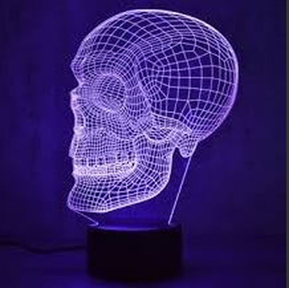 מנורת הולוגרמה 3D בצורות שונות + שלט רחוק_גולגולת, , large image number null