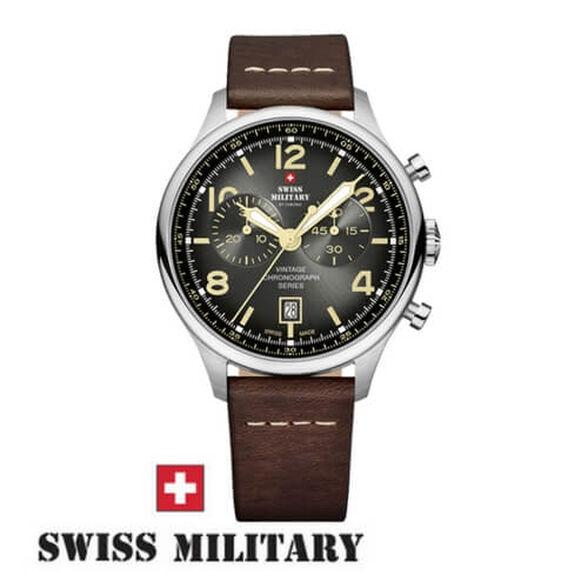 שעון כרונוגרף שוויצרי לגבר מבית SWISS MILITARY עשוי פלדת אל חלד ועמיד במים עד 100M, , large image number null