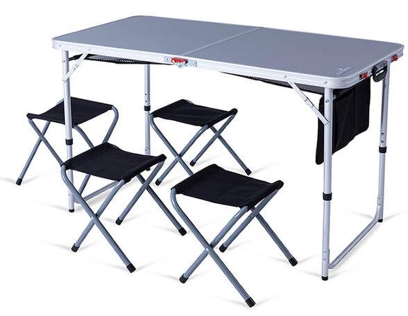 שולחן קומפקטי מתקפל למזוודה הכולל 4 שרפרפים, , large image number null