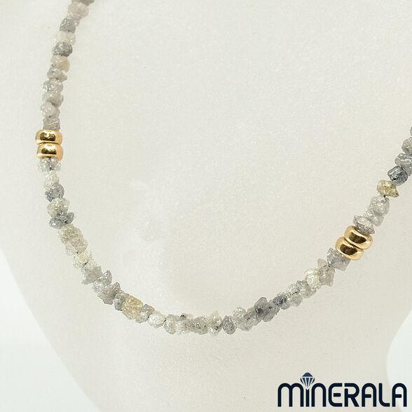מחרוזת יהלומים גולמיים טבעיים בעבודת יד בשילוב חלקי גולדפילד, , large image number null