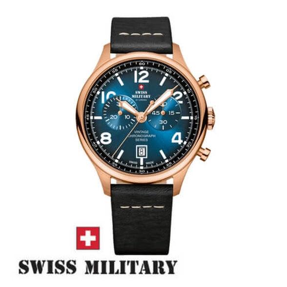 שעון יד כרונוגרף שוויצרי לגבר מבית SWISS MILITARY עשוי פלדת אל חלד בגוון רוז-גולד עמיד במים עד 100M זכוכית ספיר, , large image number null
