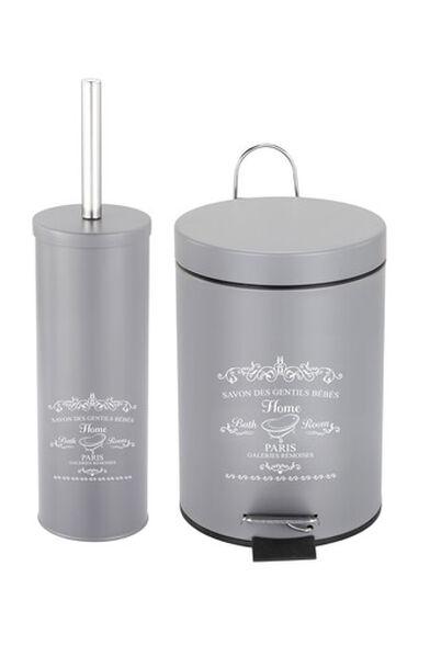 פח אשפה דוושה 5 ליטר מתכת ומברשת לשירותים  S-free, , large image number null
