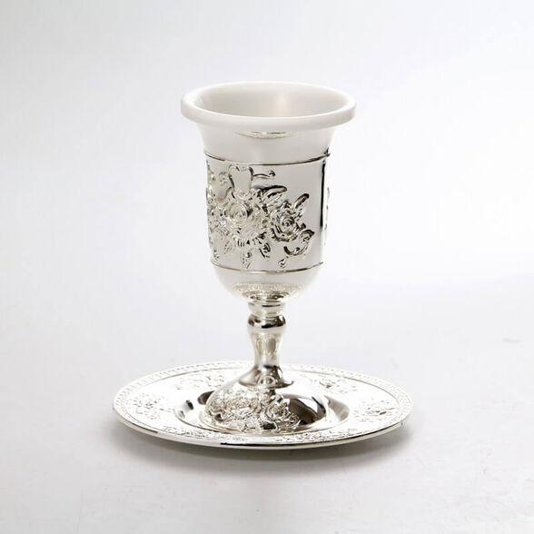 גביע קידוש מפואר עם תחתית, בציפוי כסף | חושן, , large image number null