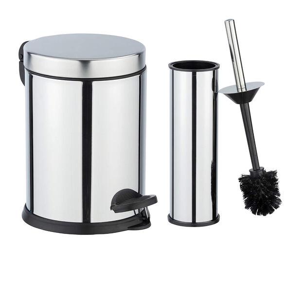 סט לחדר אמבטיה ולשירותים   פח 3 ליטר+מברשת אסלה מבריק אל חלד   WENKO, , large image number null