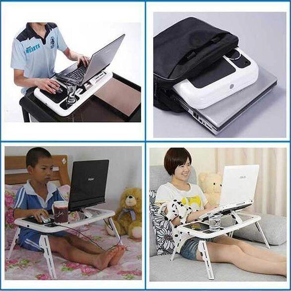 אקס-טי- שולחן לפטופ מתקפל ונייד, בעל משטח קירור עם 2 מאווררים הפועלים באמצעות חיבור usb ללפטופ שלכם, , large image number null