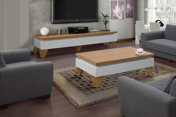 מערכת מזנון ושולחן לסלון בגימור אפוקסי לבן בשילוב עץ המעוצבים במראה יוקרתי לשידרוג הסלון - LEONARDO, , large image number null