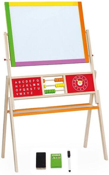 לוח ציור דו צדדי גיר וטוש מחיק עם חשבונייה, לוח ABC, שעון ואביזרי ציור, , large image number null