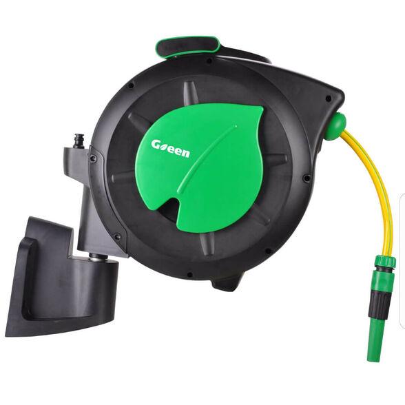 """גלגלת אוטומטית Green כולל צינור בקוטר """"1/2 אורך 20 מטר ואביזרים, מנגנון אוטומטי קפיצי להחזרת הצינור,, , large image number null"""