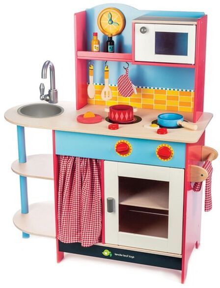 מטבח לילדים גדול מעץ מלא Grand Kitchen עם 10 אביזרים, , large image number null