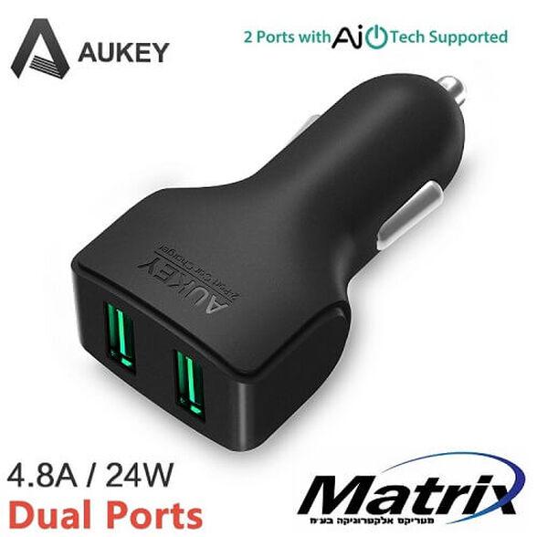 מטען לרכב AUKEY מקורי 4.8A 24W עם 2 כניסות USB מתאים לכל הסמארטפונים והטאבלטים, , large image number null