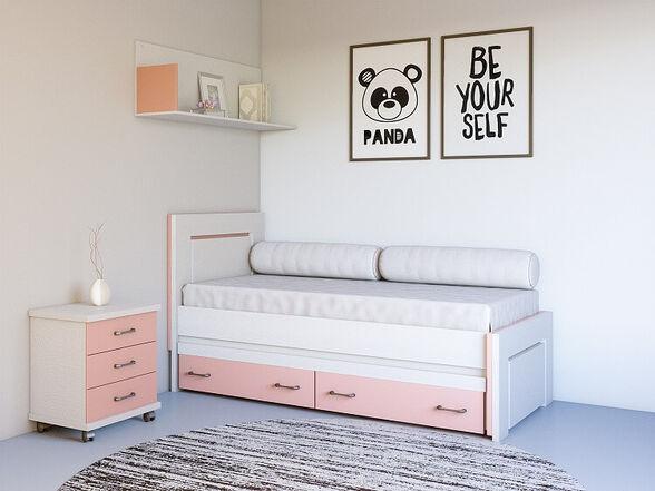 מיטת ילדים בשילוב עץ מלא מבית - House Design כולל מיטת חבר וזוג מגירות אחסון - דגם במבינו, , large image number null