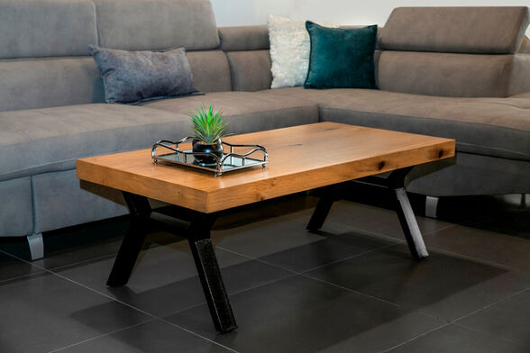 שולחן סלון בעל רגלי X העשוי MDF בשילוב פורניר אלון מבוקע דגם הונור , , large image number null
