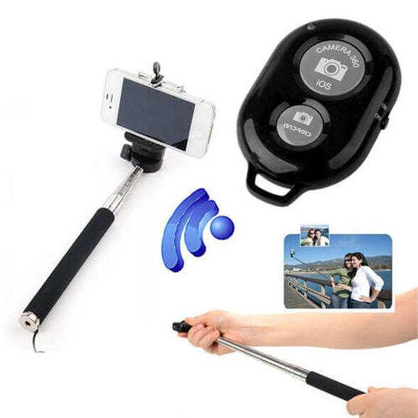 מוט סלפי לכל סוגי הסמארטפונים, עם שלט אלחוטי לטווח של 10 מטרים כולל הברגה אוניברסלית למצלמות דיגיטלי , , large image number null